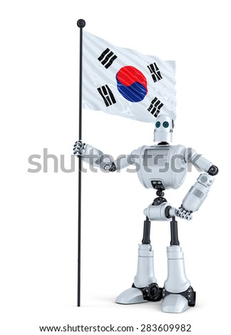 Android Robot standing with flag of South Korea. Isolated. Contains clipping path. - stock photo
