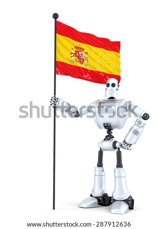 Android Robot standing with flag of Spain. Isolated on white. Contains clipping path - stock photo