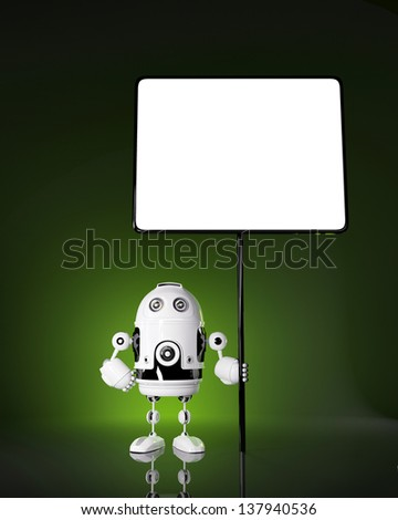 Android robot with blank board. Rendered on dark background - stock photo