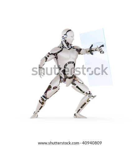 android with a transparent shield - stock photo