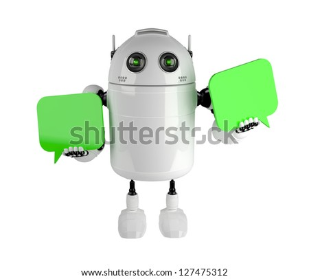 Android with two chat bubbles . Isolated on white