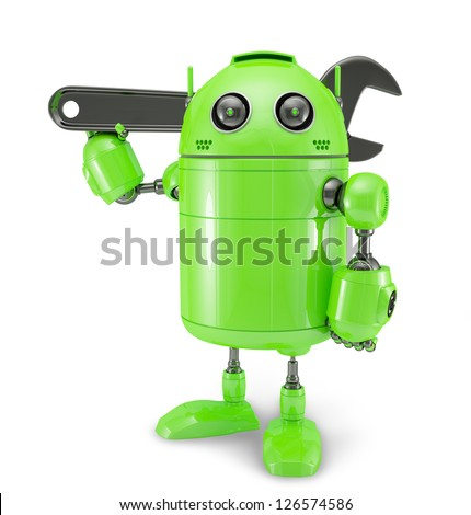 Android with wrench. Repair concept. Isolated on white - stock photo