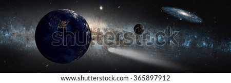 "Andromeda and Milky Way collision (galactic disaster) ""Elements of this image furnished by NASA "" - stock photo"