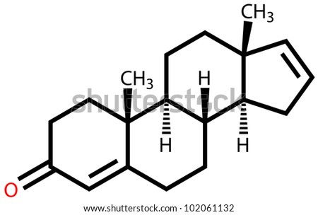 Androstadienone, a strong male-produced pheromone. Structural formula - stock photo