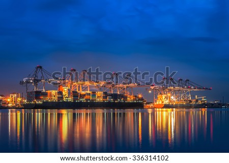 andscape from bird view of Cargo ships entering one of the busiest ports in the world, Singapore. - stock photo