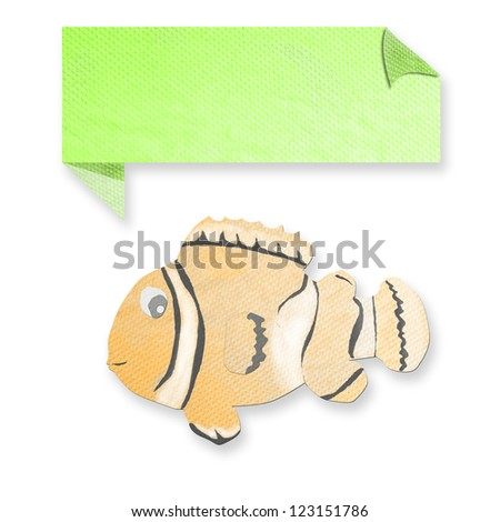 anemonefish with text box made from tissue paper-craft - stock photo