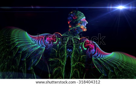 Angel and a star abstract illustration - stock photo