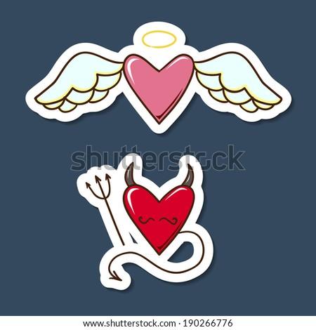 Angel and demon hearts. Paper sticker imitation. Romantic tender design - stock photo