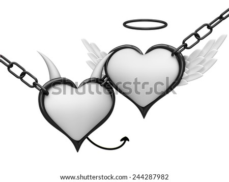 Angel and devil hearts together - stock photo