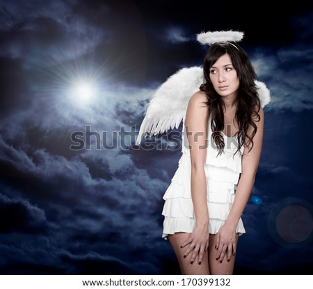 Angel and light of god - stock photo