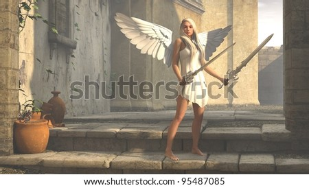 angel below arch - stock photo