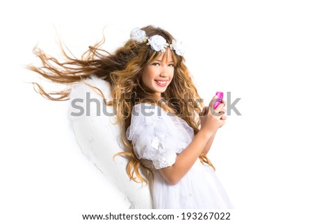 Angel blond girl with mobile smartphone and feather wings on white byod to heaven - stock photo