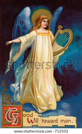 Angel bringing 'Good Will toward men' - an early 1900's vintage greeting card illustration. - stock photo