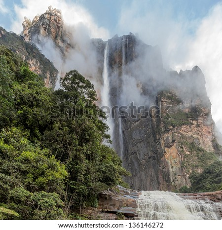 Angel Falls ( Salto Angel ) is worlds highest waterfalls (978 m) - Venezuela, South America - stock photo