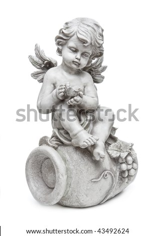 angel figure, isolated on white background - stock photo