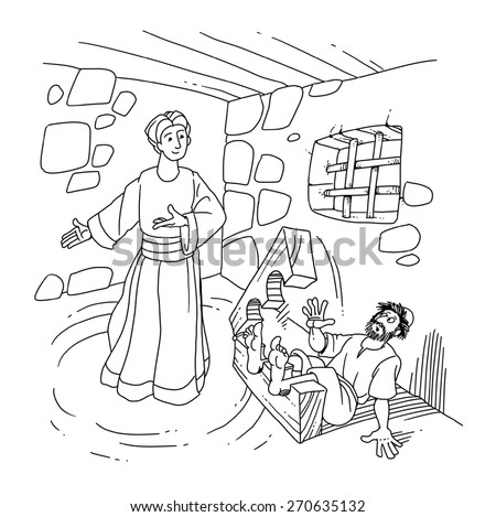 Christian peter in prison page coloring pages for Peter and john in jail coloring page