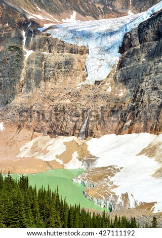 Angel Glacier from Cavell Meadows, National Park Jasper, Canada - stock photo