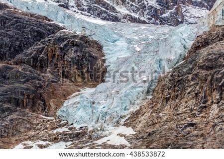 Angel Glacier of Mount Edith Cavell in Jasper National Park, Alberta , Canada.  Photo taken in 2015 - stock photo