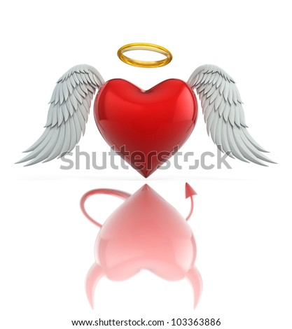 angel heart seen as a devil heart in reflection - love 3d concept - stock photo