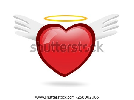 Angel heart with wings - stock photo