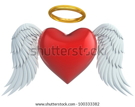 angel heart with wings and golden halo 3d illustration - stock photo