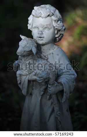 Angel in the sun ray - stock photo