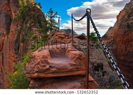 Angel Landing Trail in Zion National Park,Utah - stock photo