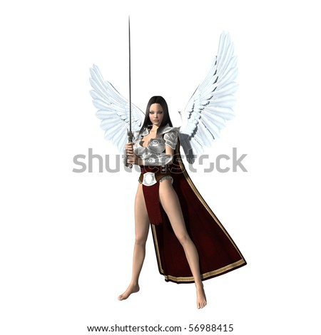 Angel of Justice. Female angel with sword and wings on a perfect white background - stock photo