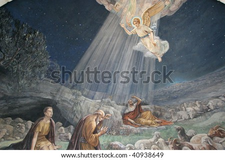 Angel of the Lord visited the shepherds and informed them of Jesus' birth, Bethlehem, Church at the Shepherds' Fields - stock photo
