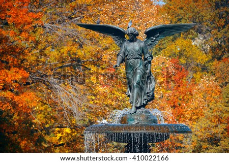 Angel of water in Bethesda Terrace in Autumn in Central Park New York City - stock photo