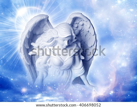 angel over blue background - stock photo