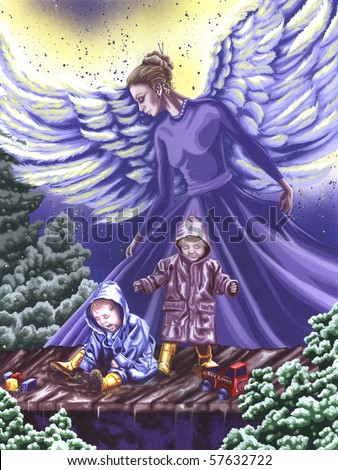 Angel Protecting Children Painting - stock photo