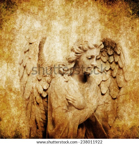 angel statue, grunge effect - stock photo