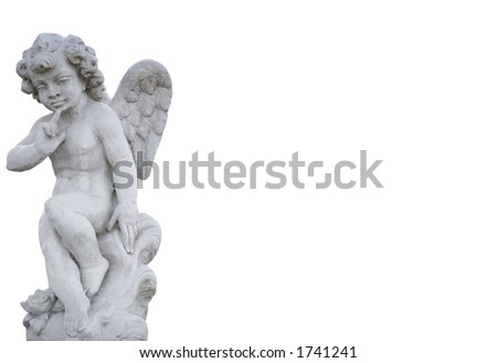 Angel statue on white background