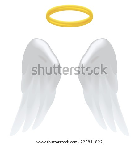 Angel wings and a halo isolated on white. - stock photo