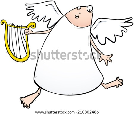 Angel with a discount harp cartoon character illustration - stock photo