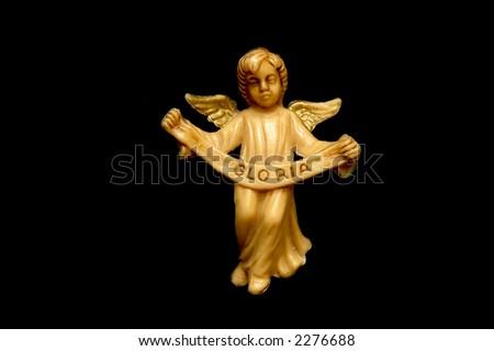 Angel with Gloria inscription - stock photo