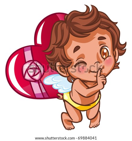 angel with heart as a present - stock photo