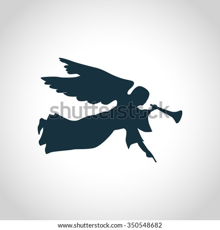 Angel with horn silhouette for web and mobile devices - stock photo