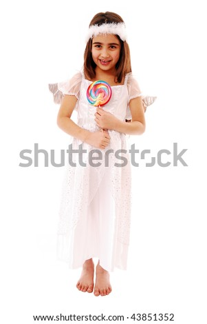 Angel with lolly pop isolated on white