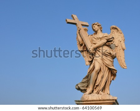 Angel with the cross. Ponte Sant'Angelo, Aelian Bridge, Pons Aelius. Rome. Italy. More of this motif & more Rome in my port. - stock photo