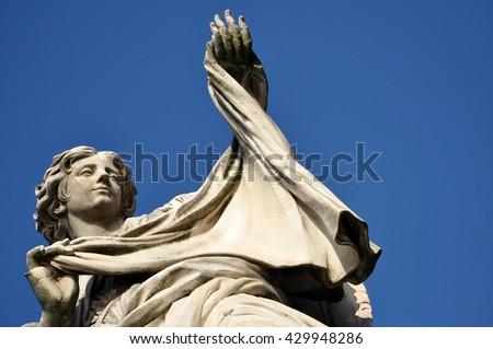 Angel with the Veil statue on the Ponte Sant' Angelo bridge, Rome - stock photo