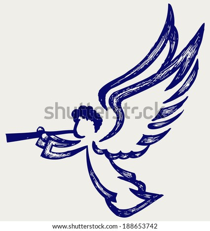 Angel with trumpet. Doodle style. Raster version - stock photo