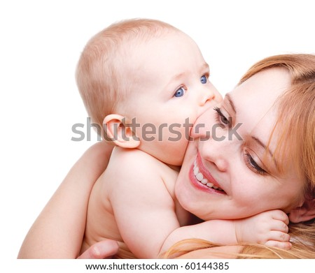 Angelic baby kissing his mother - stock photo