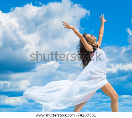 Angelic Exercise to Spellbind the Summer - stock photo