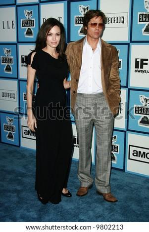 Angelina Jolie and Brad Pitt at the 2008 Film Independent Spirit Awards at Santa Monica Beach, Santa Monica, California - stock photo