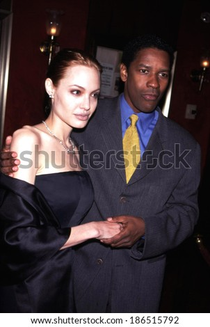 Angelina Jolie, Denzel Washington at the New York premeire of BONE COLLECTOR - stock photo