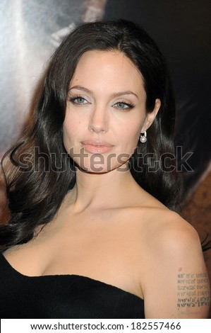 Angelina Jolie, wearing Mikimoto earrings, at THE CHANGELING Premiere at the New York Film Festival, The Ziegfeld Theatre, New York, NY, October 04, 2008 - stock photo