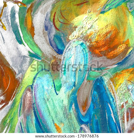 angels and domes, painting by oil on canvas,  illustration - stock photo
