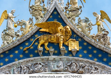 Angels Lion On Top Saint Marks Stock Photo Royalty Free 691744435
